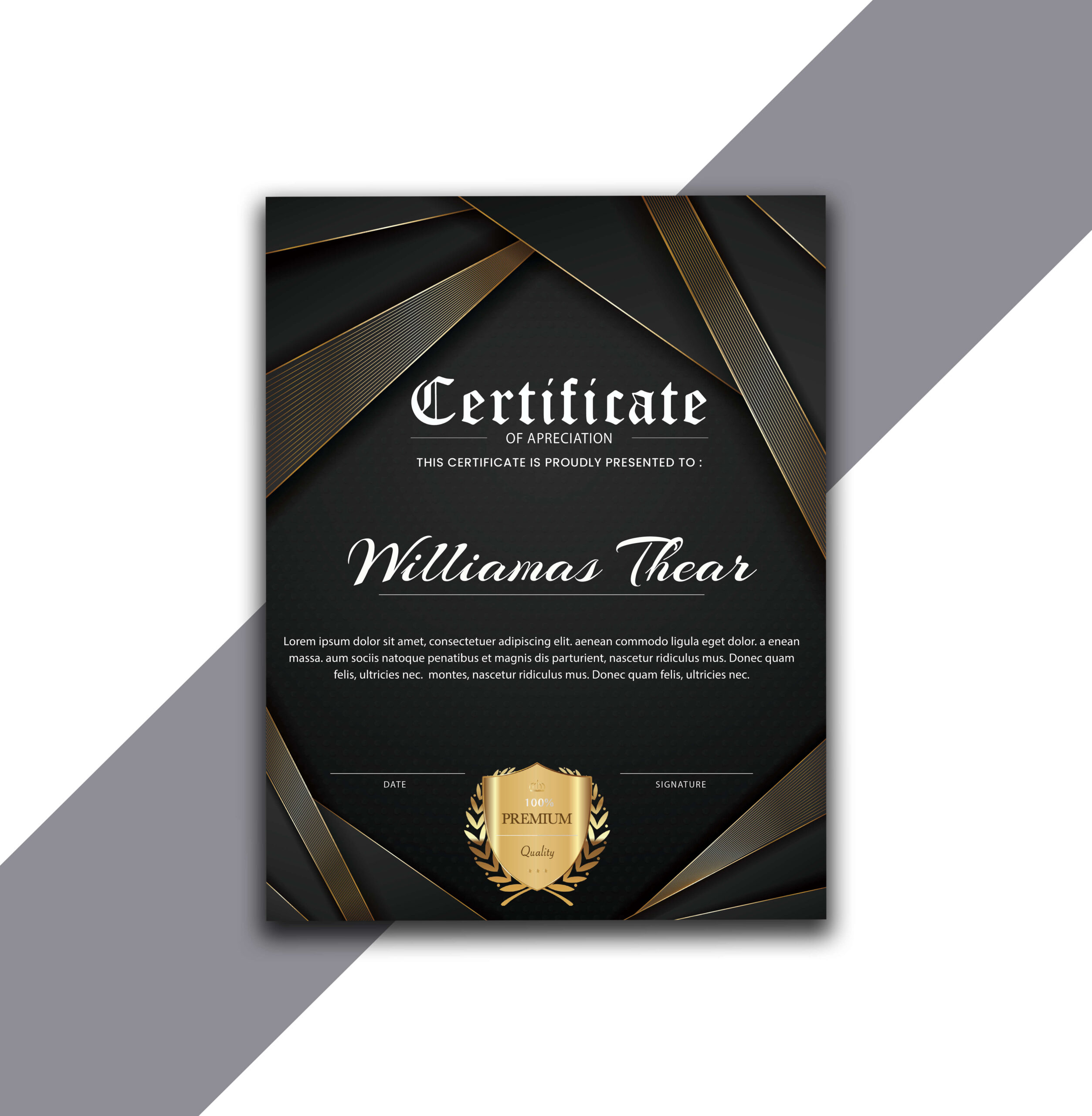 Vertical Certificate Design with Gold Strips in AI