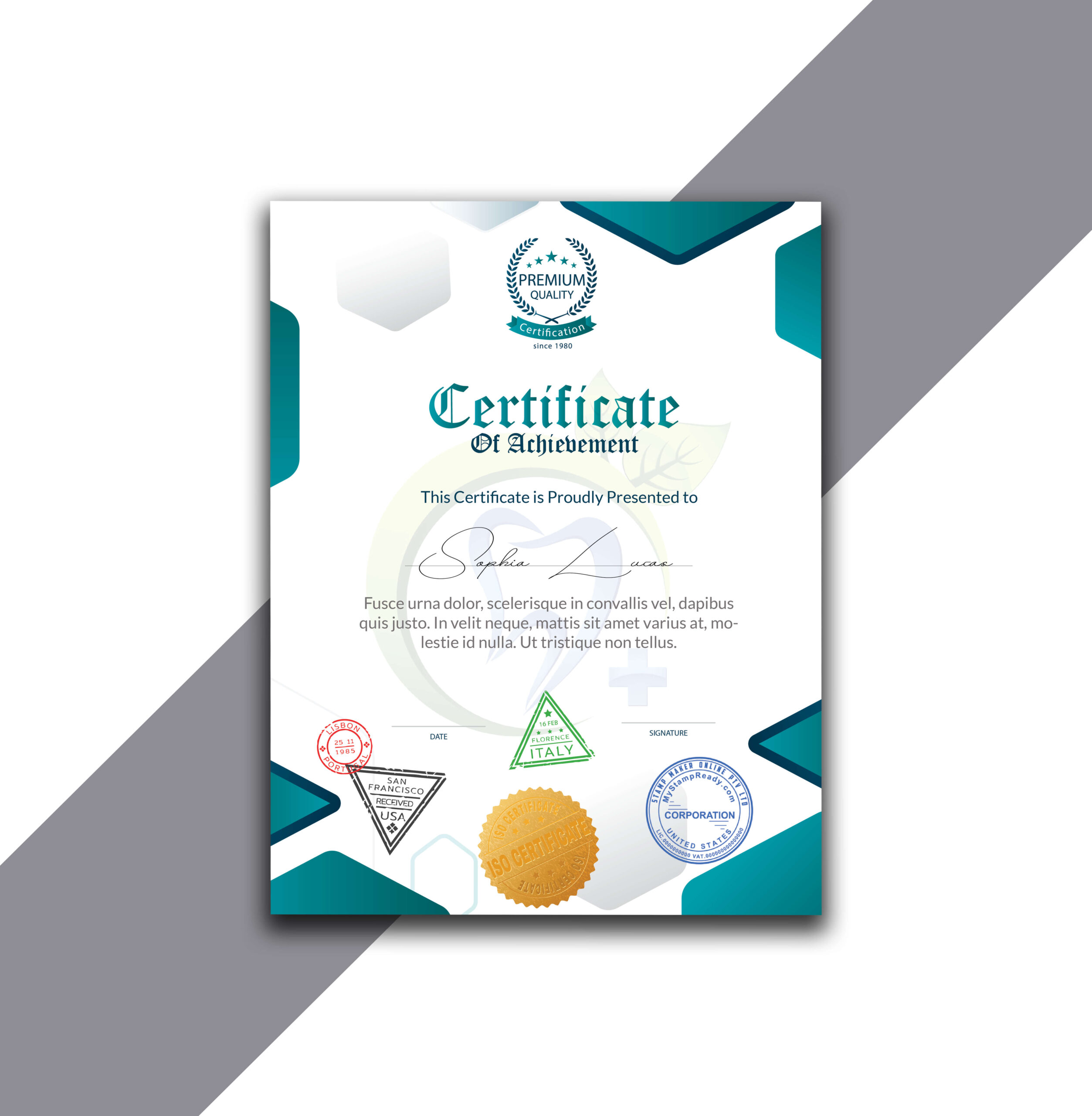 Unique and Funky Style Vertical Certificate of Achievement
