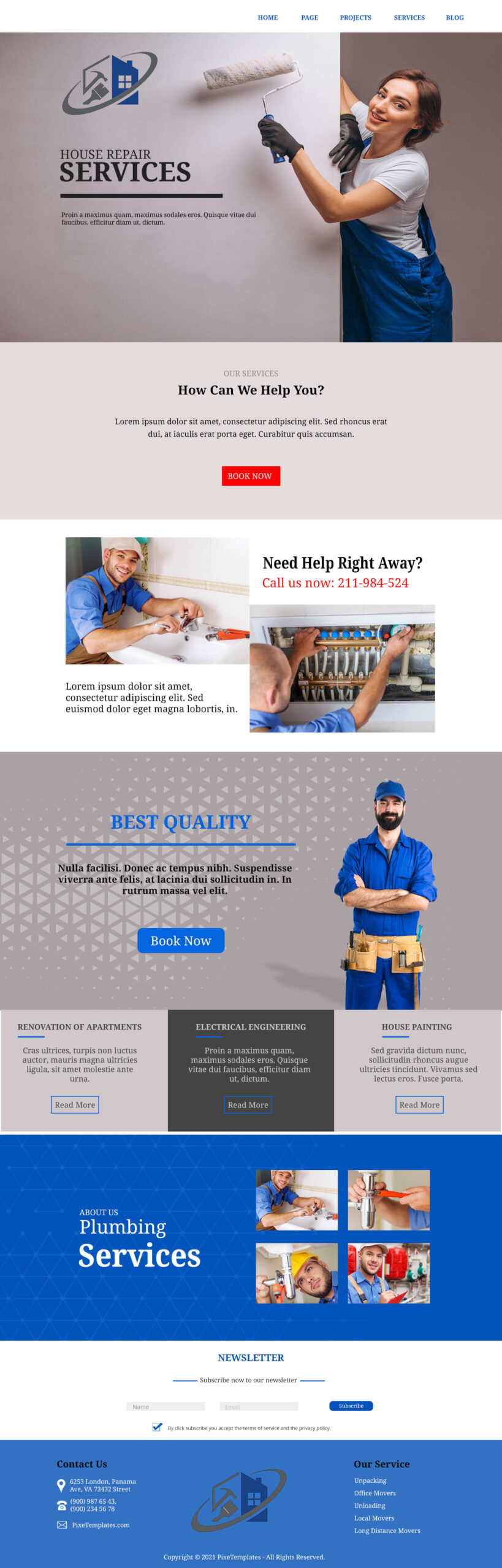 Free Website Template for House Repair Services