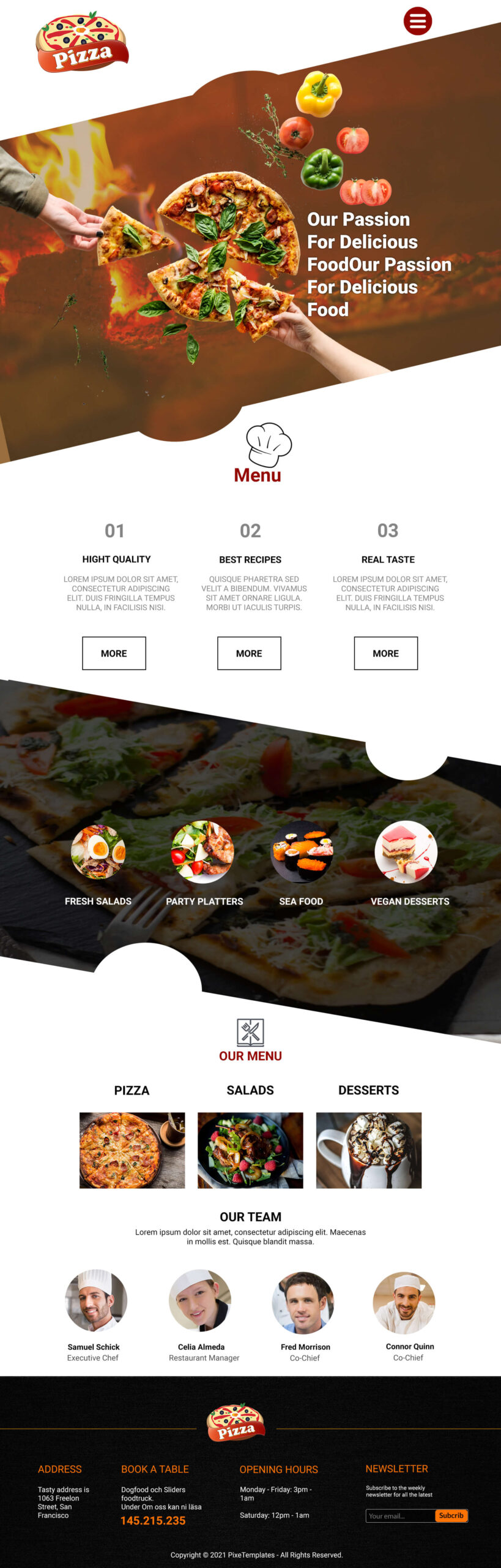 Free Website Template for Pizza and Fast Food Company