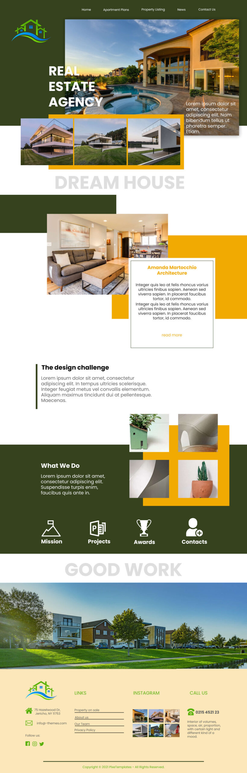 Real Estate Agency WordPress Theme in Photoshop Source File