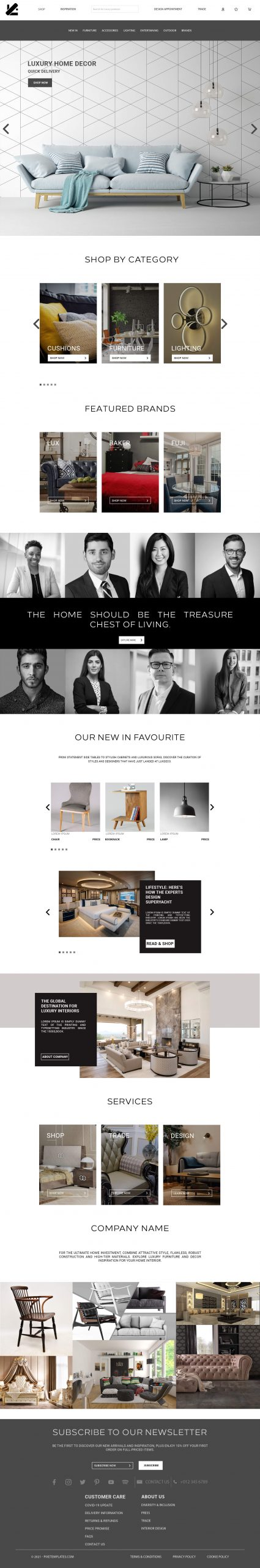 Long Website Template for Home Decore in PSD
