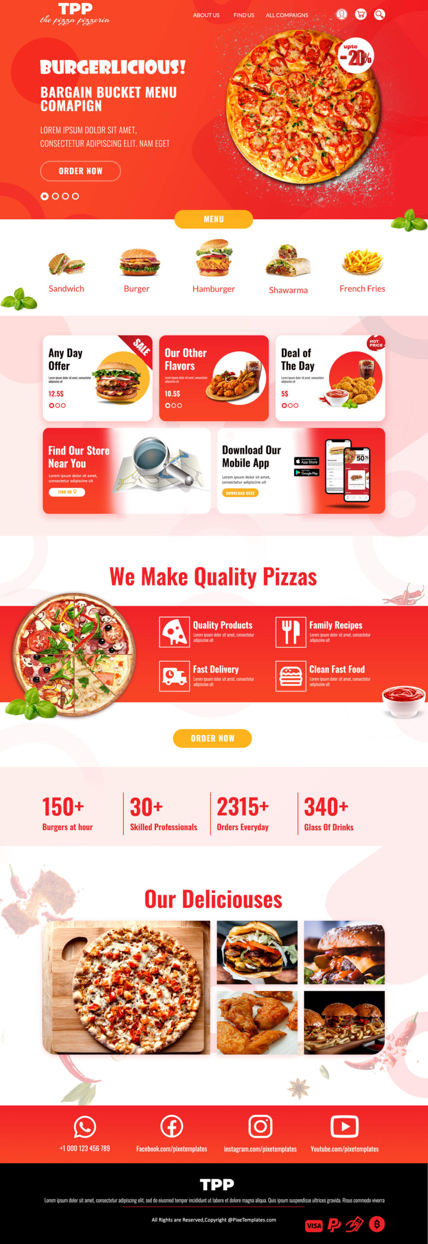 Restaurants Web Interface with Elegant Style in PSD Format