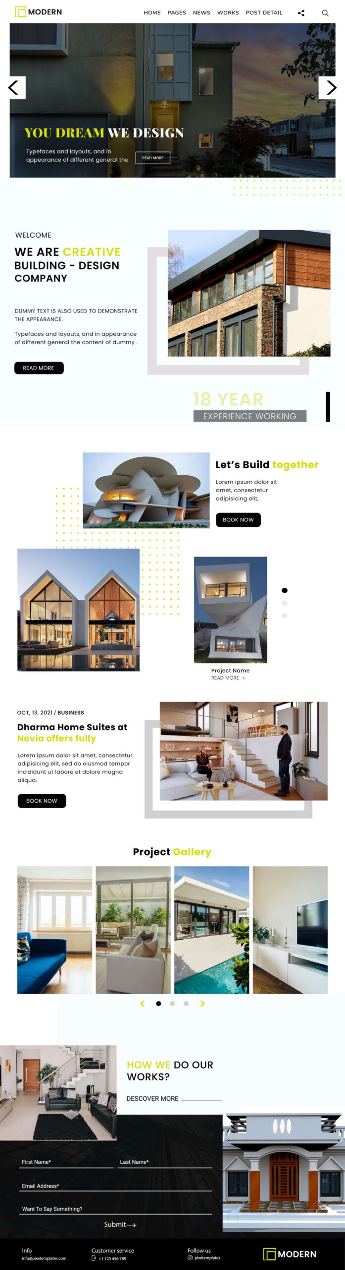 Modern Website Template for Architects in PSD Format