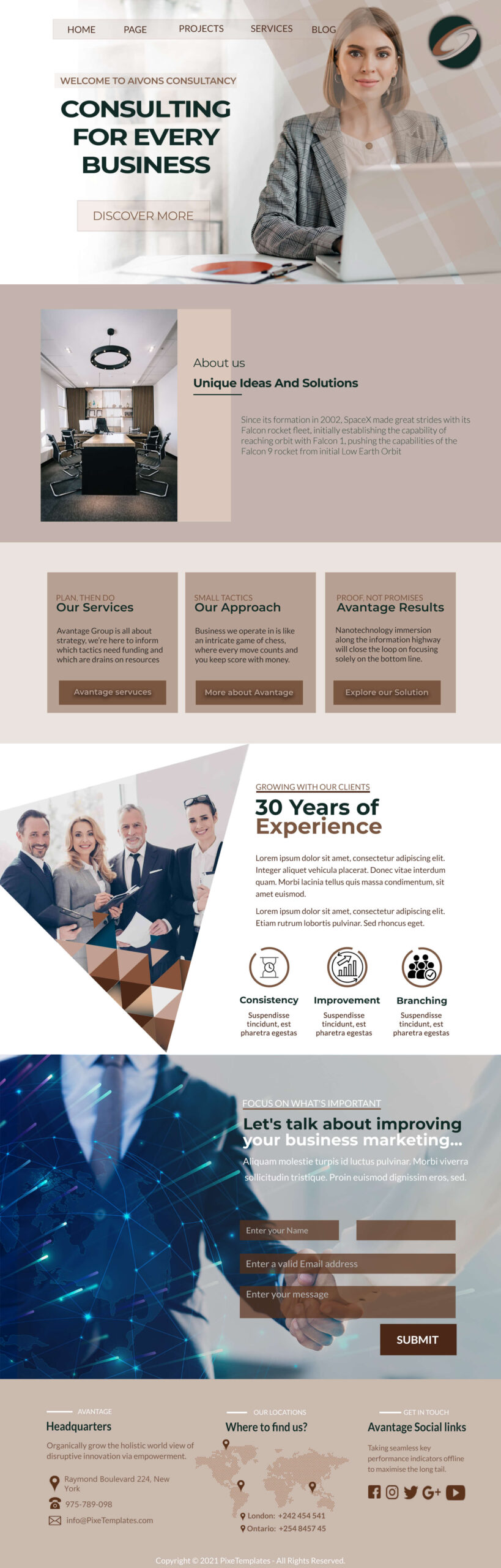 Free Business Website Interface with Source PSD