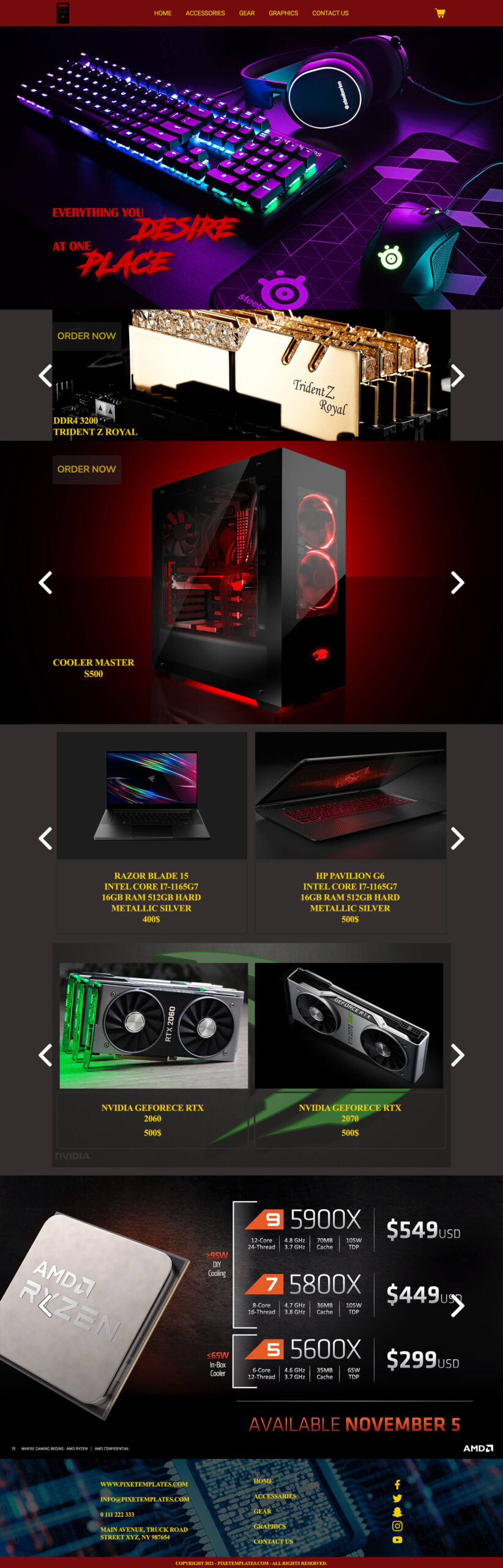 Download Website Template for Computer Accessories